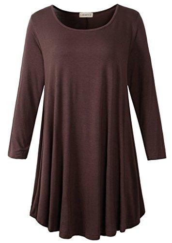 3/4 Sleeve Tunic Top Loose Fit Flare Tunic Shirt Tops LARACE S coffee
