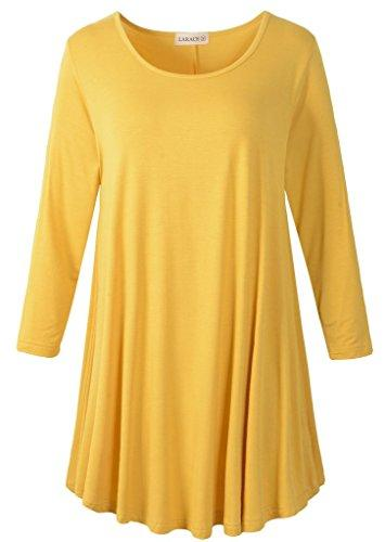 3/4 Sleeve Tunic Top Loose Fit Flare Tunic Shirt Tops LARACE S yellow