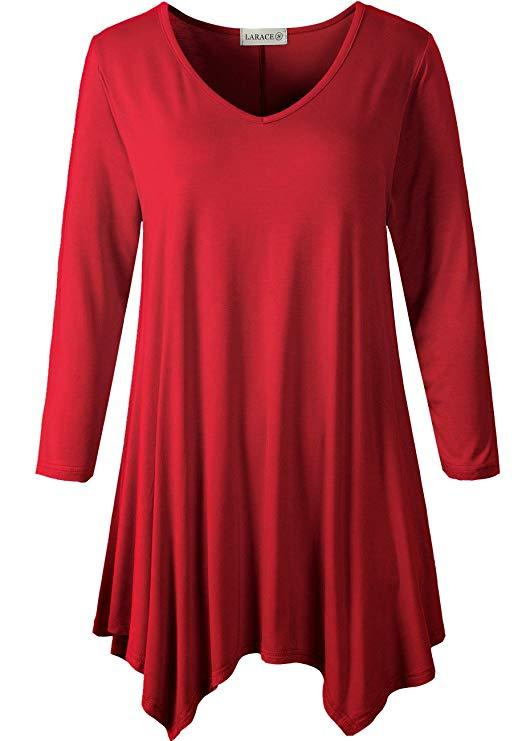 LARACE V-Neck Plain Swing Tunic Top Casual Tunic Shirt Tops LARACE S wine red