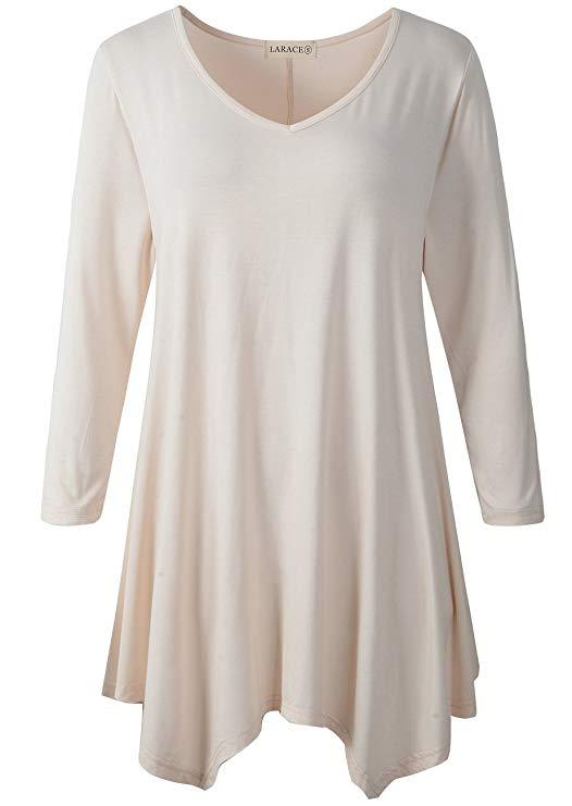 LARACE V-Neck Plain Swing Tunic Top Casual Tunic Shirt Tops LARACE S beige