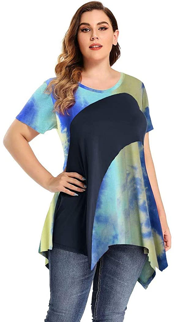 LARACE Color Block V-Neck Flattering Asymmetrical Hemline Long Shirt 6XL-8067