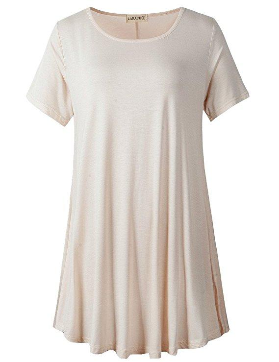 LARACE Crew Neck Short Sleeves Flare Tunic Blouse Tops LARACE S beige