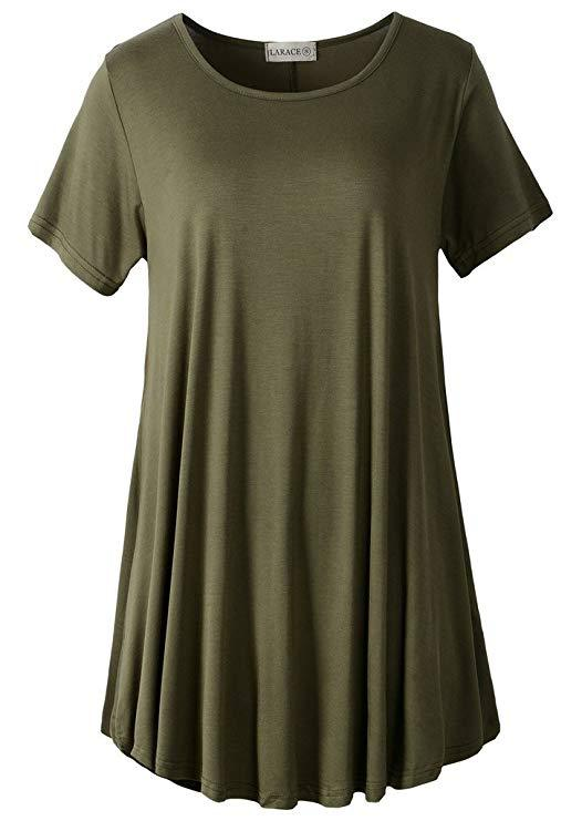 LARACE Crew Neck Short Sleeves Flare Tunic Blouse Tops LARACE S army green