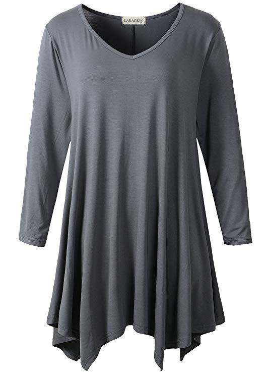 LARACE V-Neck Plain Swing Tunic Top Casual Tunic Shirt Tops LARACE S deep gray
