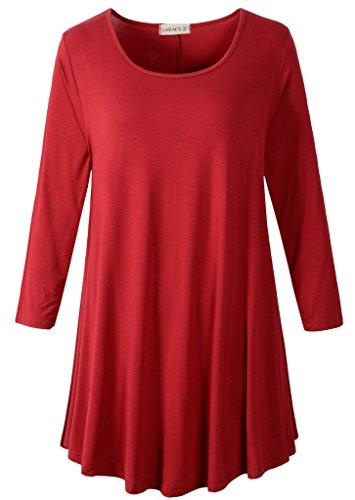 3/4 Sleeve Tunic Top Loose Fit Flare Tunic Shirt Tops LARACE S wine red