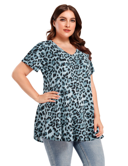 Women V Neck Loose Fit Flowy Short Sleeve Plus Size Casual Tops - LARACE 8059