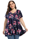 LARACE Women's Plus Size Tunic Tops Short Sleeve V Neck Blouses Basic T Shirt Tops LARACE