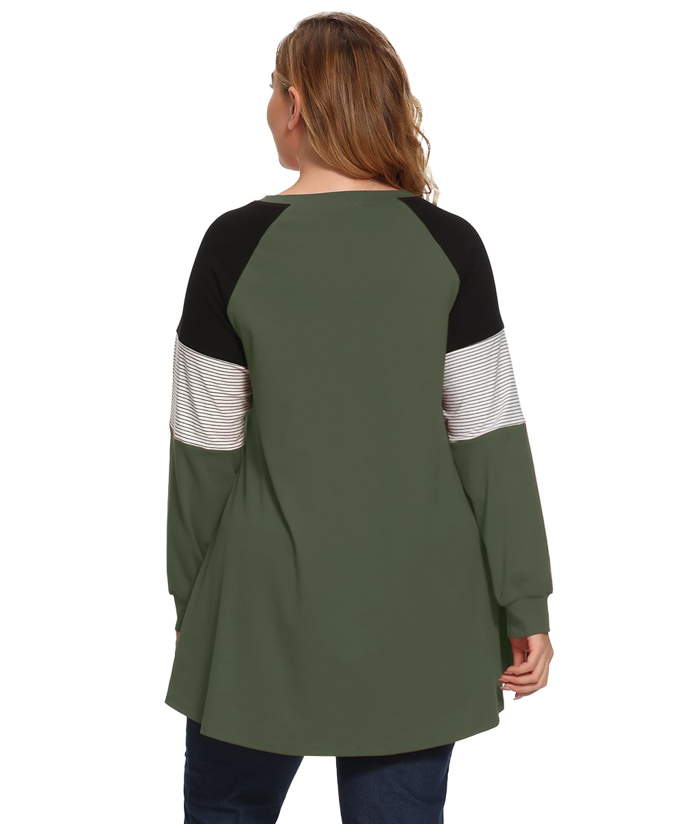 Plus Size Color Block Long Sleeve Tunic Striped Raglan Pullover - LARACE 8087