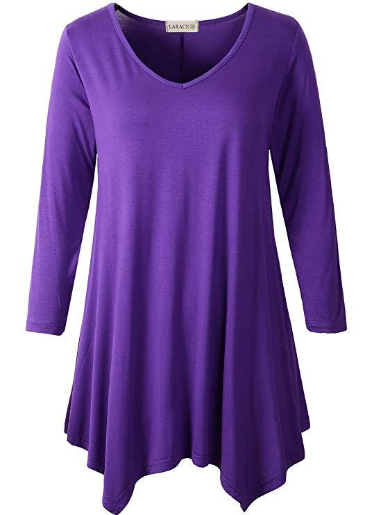 LARACE V-Neck Plain Swing Tunic Top Casual Tunic Shirt Tops LARACE S deep purple