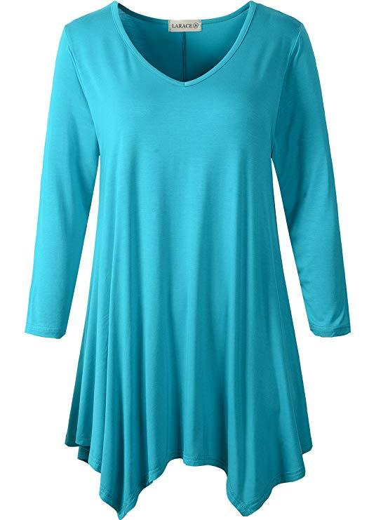 LARACE V-Neck Plain Swing Tunic Top Casual Tunic Shirt Tops LARACE S lake blue