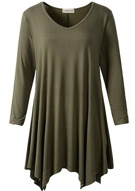 LARACE V-Neck Plain Swing Tunic Top Casual Tunic Shirt-LARACE