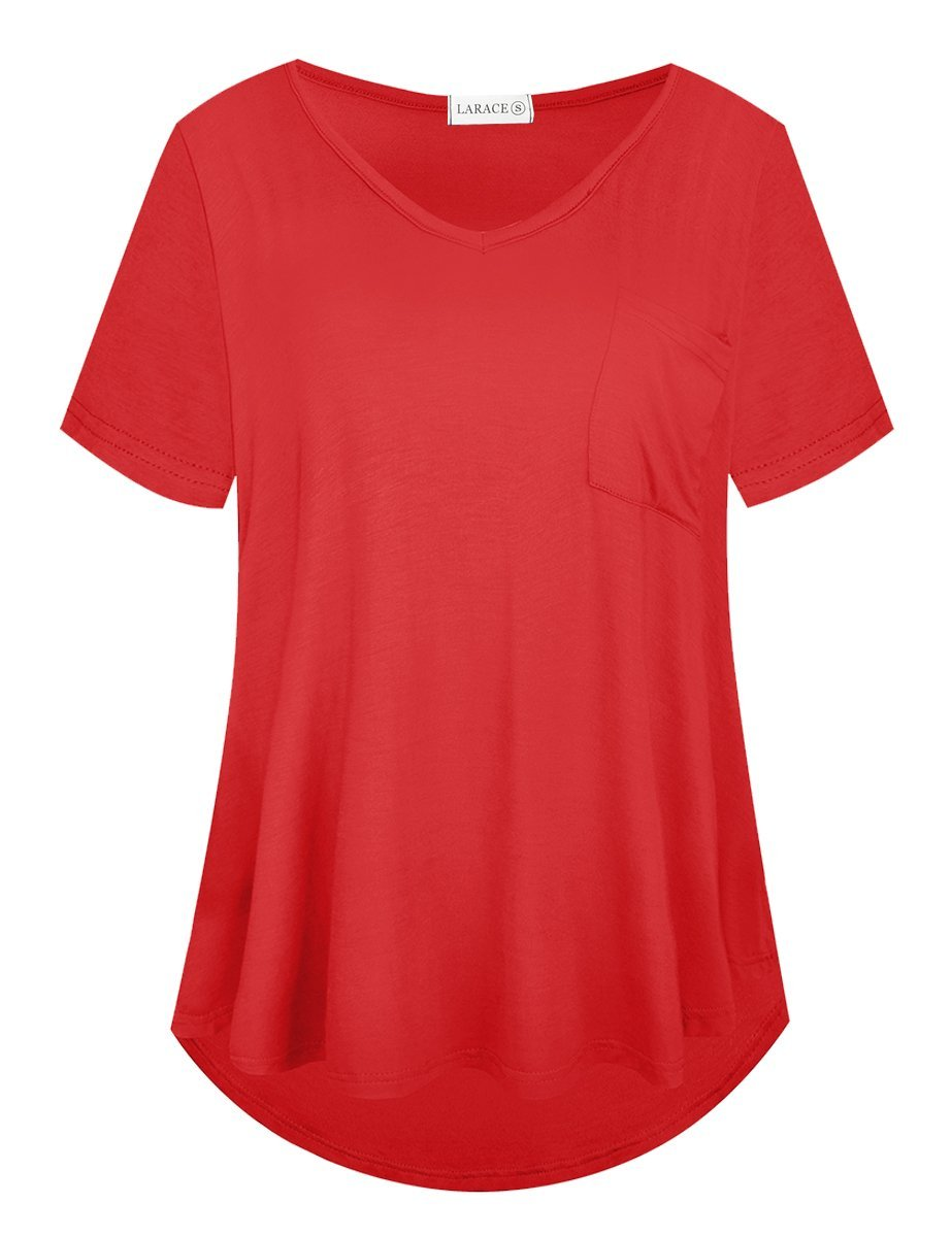 LARACE Women Plus Size Tops Casual Short Sleeve Under Shirts Summer Tee Tops LARACE L Red