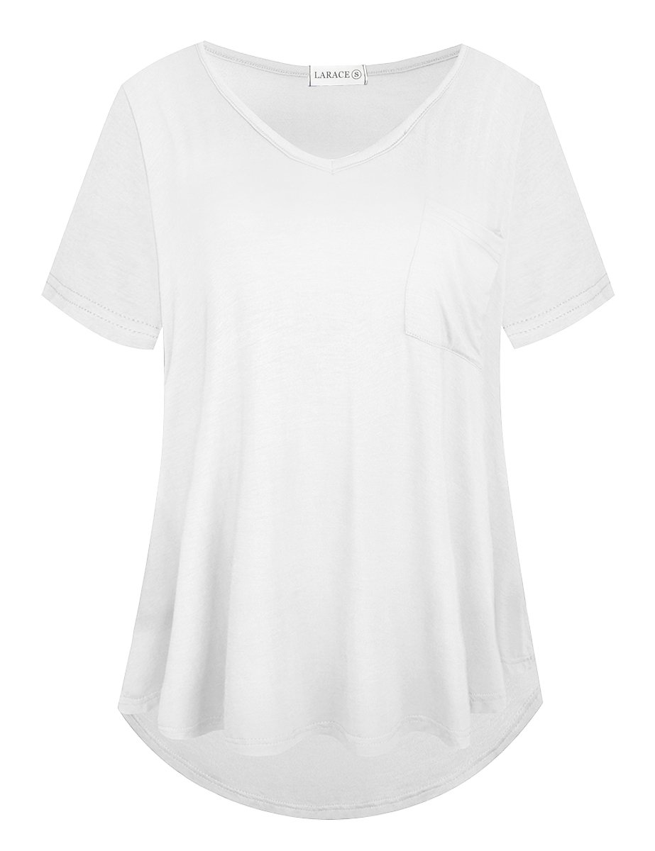 LARACE Women Plus Size Tops Casual Short Sleeve Under Shirts Summer Tee Tops LARACE L White