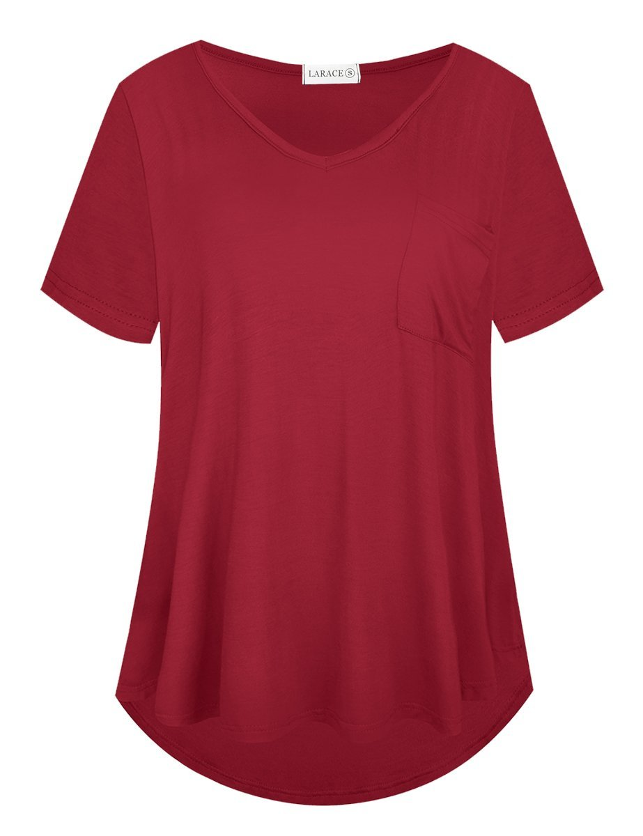 LARACE Women Plus Size Tops Casual Short Sleeve Under Shirts Summer Tee Tops LARACE 1X Wine Red