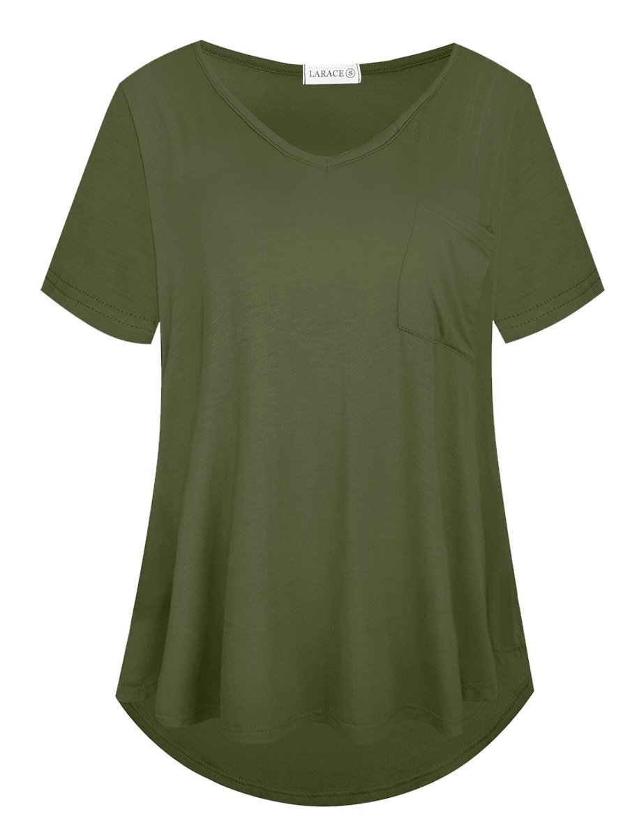 LARACE Women Plus Size Tops Casual Short Sleeve Under Shirts Summer Tee Tops LARACE L Army Green