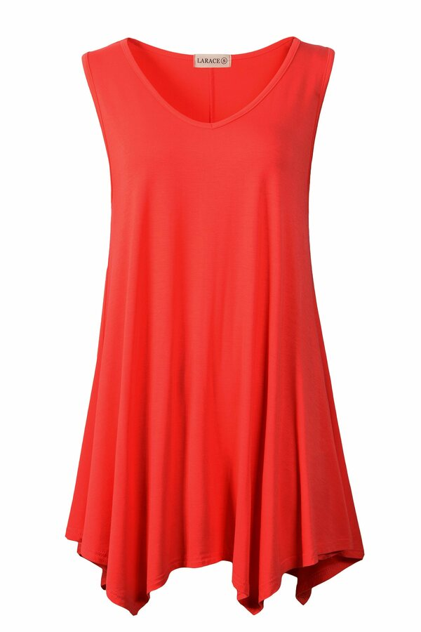 Women V-Neck Tank Top Tunic for Leggings - LARACE 8037