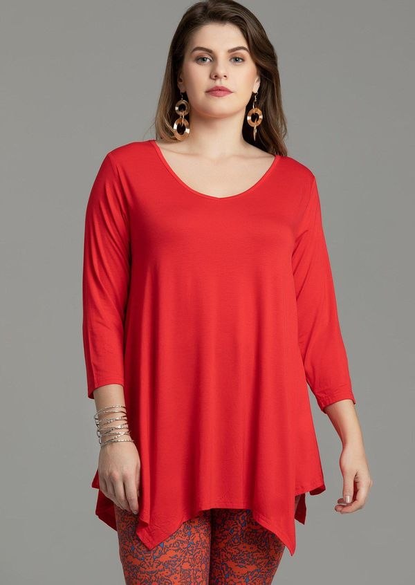 V-Neck Plain Swing Tunic Top Casual Long-sleeved T-shirt-LARACE  8035