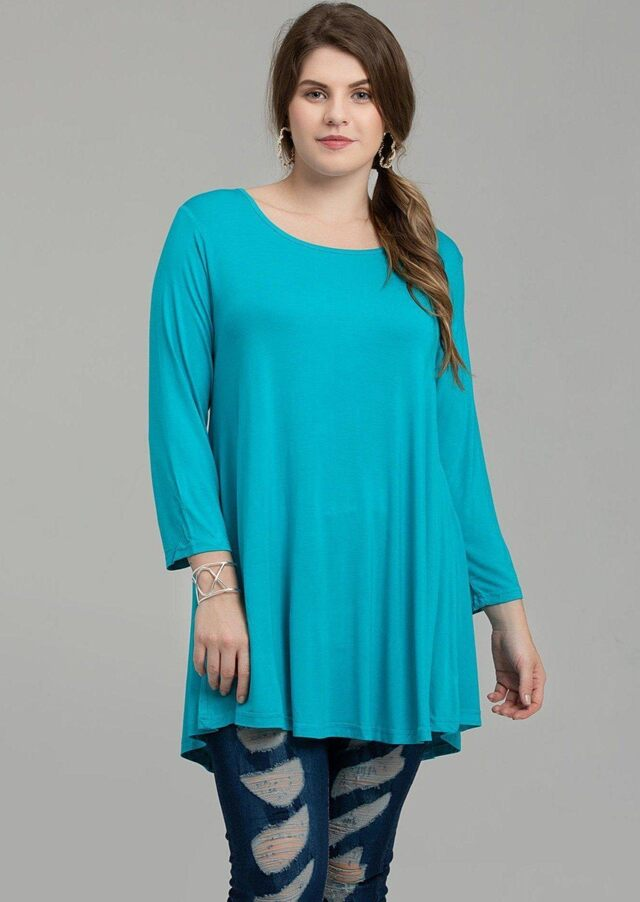 3/4 Sleeve Tunic Top Loose Fit Flare Tunic Shirt - LARACE 8033