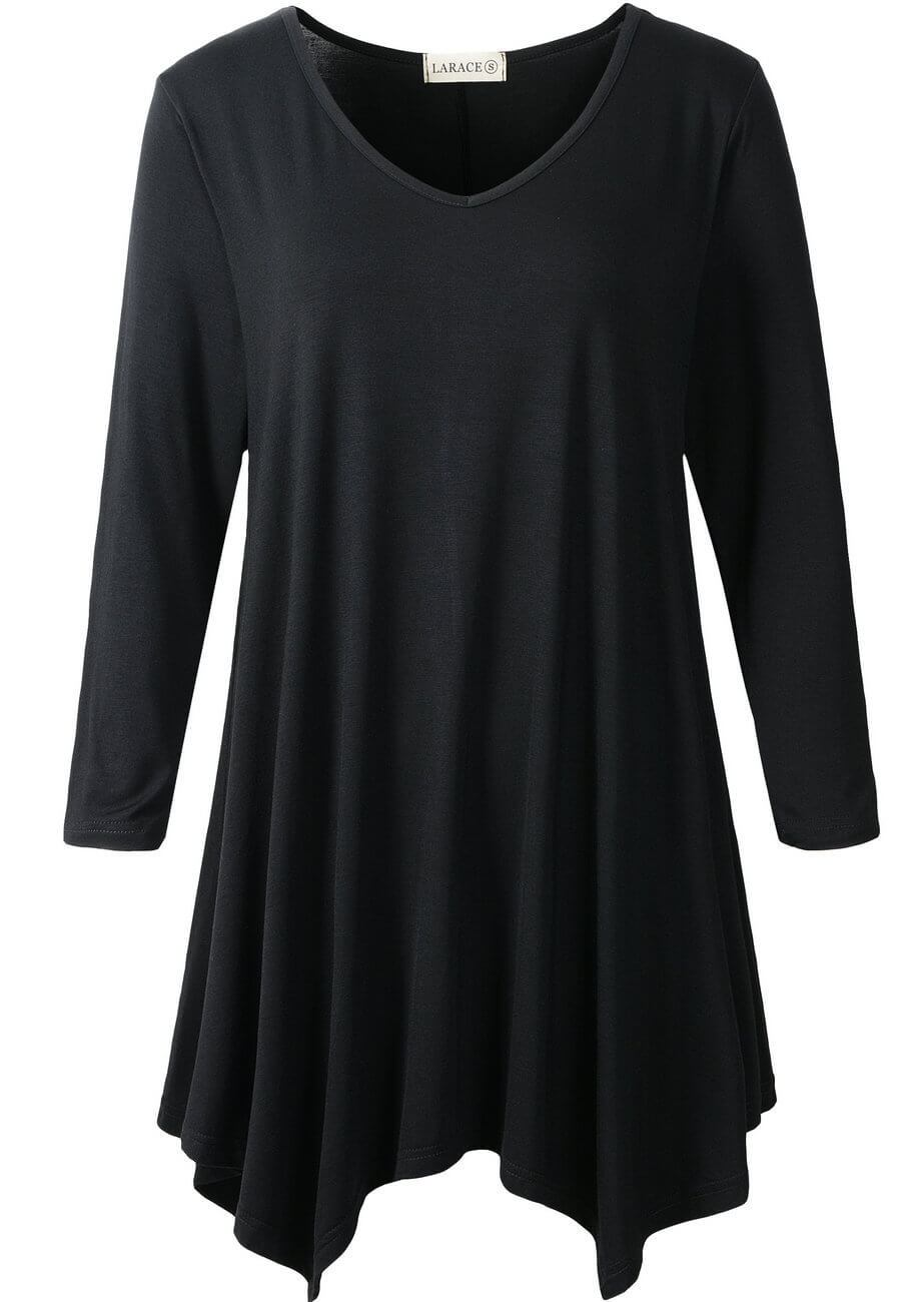 LARACE V-Neck Plain Swing Tunic Top Casual Tunic Shirt Tops LARACE S black
