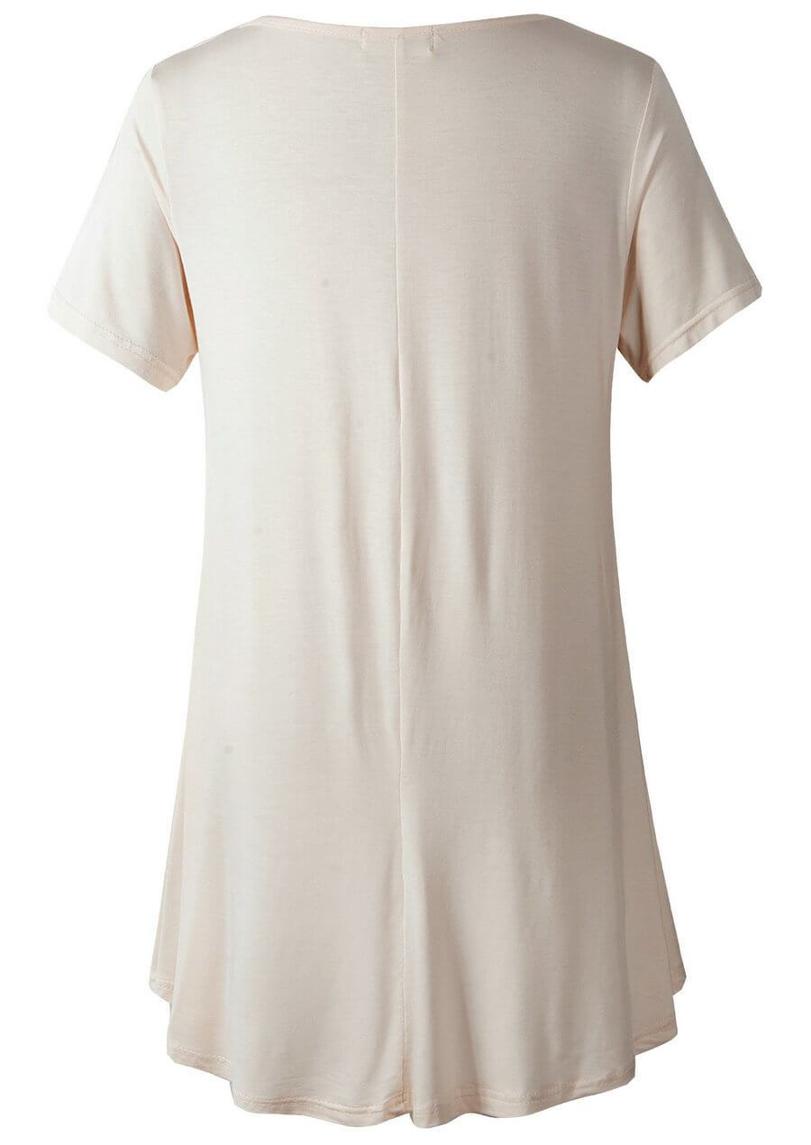 LARACE Crew Neck Short Sleeves Flare Tunic Blouse Tops LARACE M beige