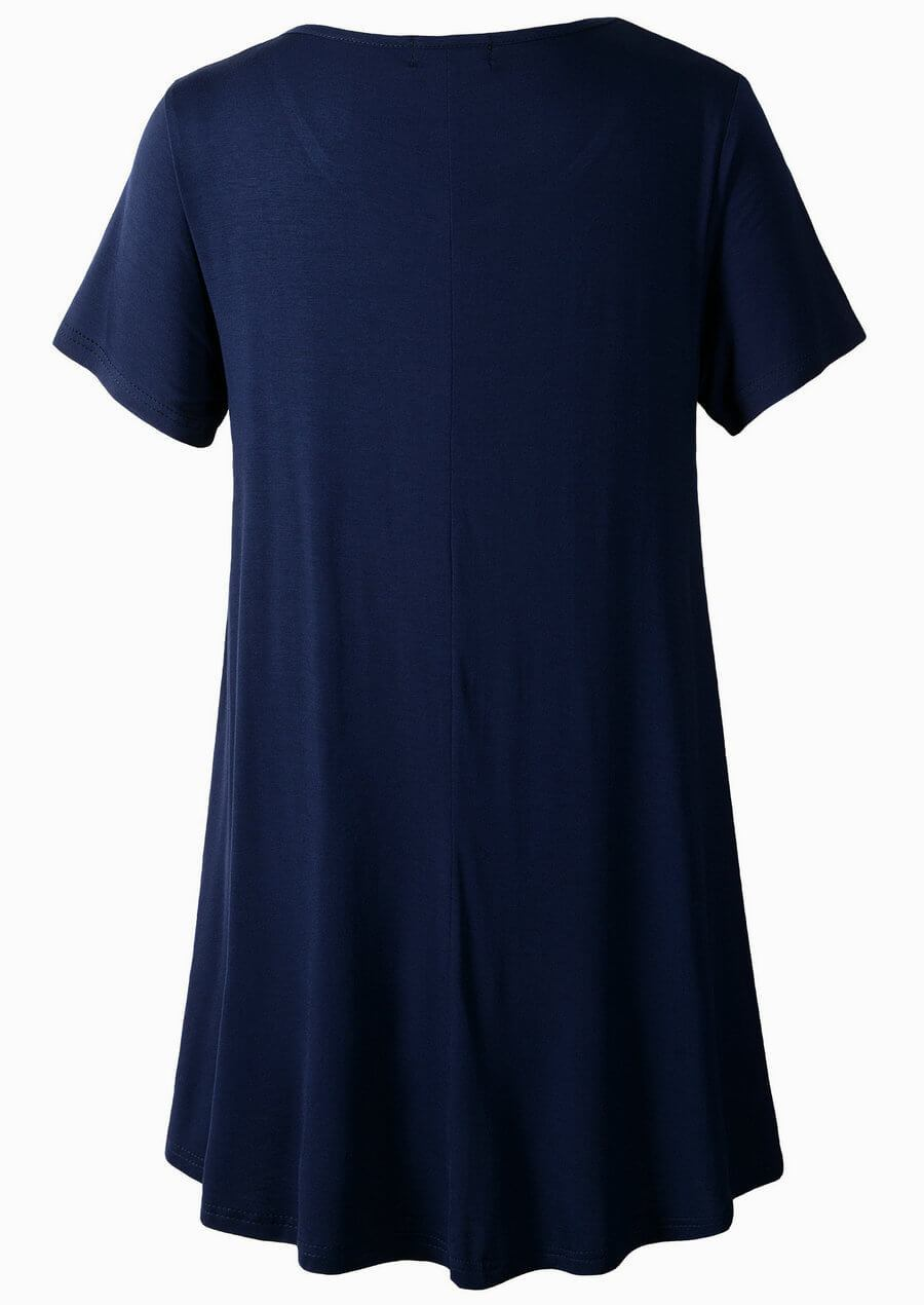 LARACE Crew Neck Short Sleeves Flare Tunic Blouse Tops LARACE M navy blue