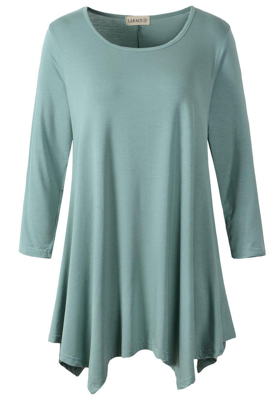 LARACE 3/4 Sleeve Plus Size Tunic Tops Loose Basic Shirt-LARACE