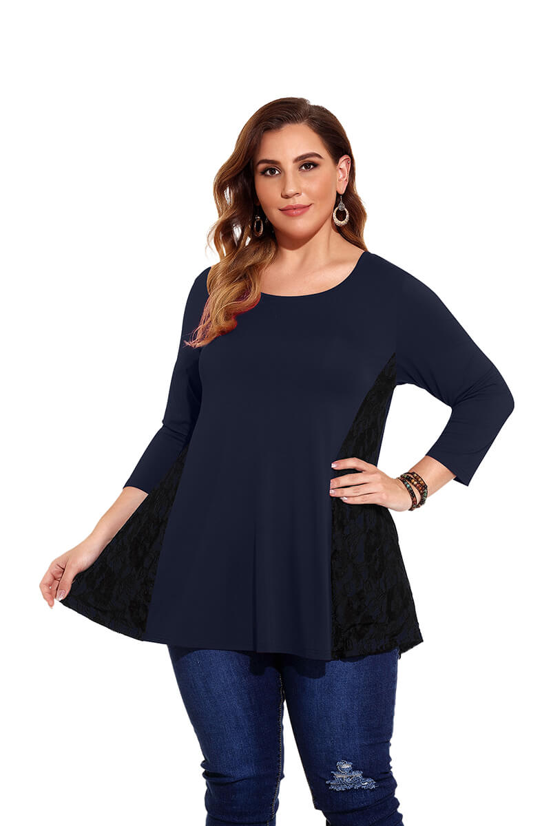 LARACE Women Plus Size Tops Black Lace 3/4 Sleeve Tunics for Leggings Loose Shirts
