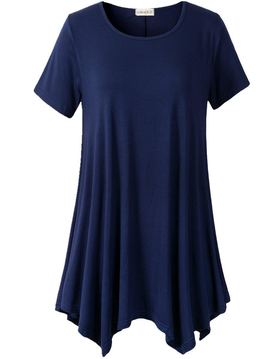 Larace Short Sleeve Flattering Comfy Blouse Shirt Tops Tops LARACE S navy blue