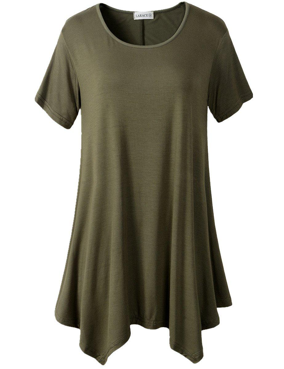 Larace Short Sleeve Flattering Comfy Blouse Shirt Tops Tops LARACE S army green
