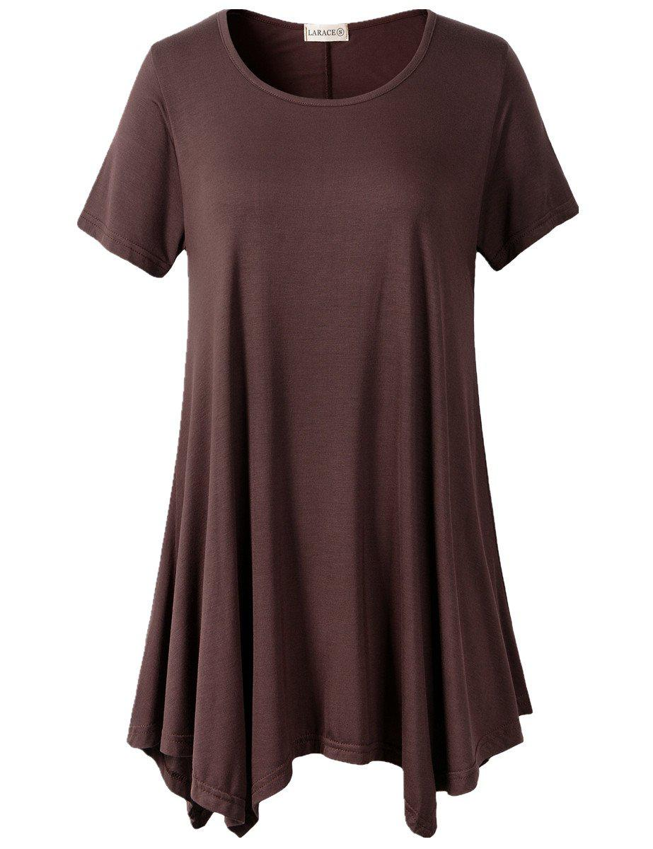 Larace Short Sleeve Flattering Comfy Blouse Shirt Tops Tops LARACE S coffee