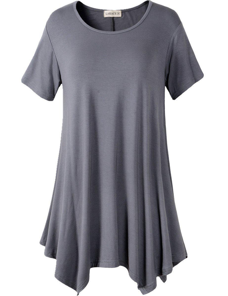 Larace Short Sleeve Flattering Comfy Blouse Shirt Tops Tops LARACE S deep gray