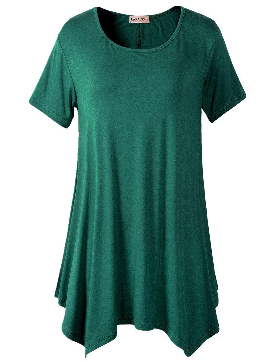Larace Short Sleeve Flattering Comfy Blouse Shirt Tops Tops LARACE S deep green