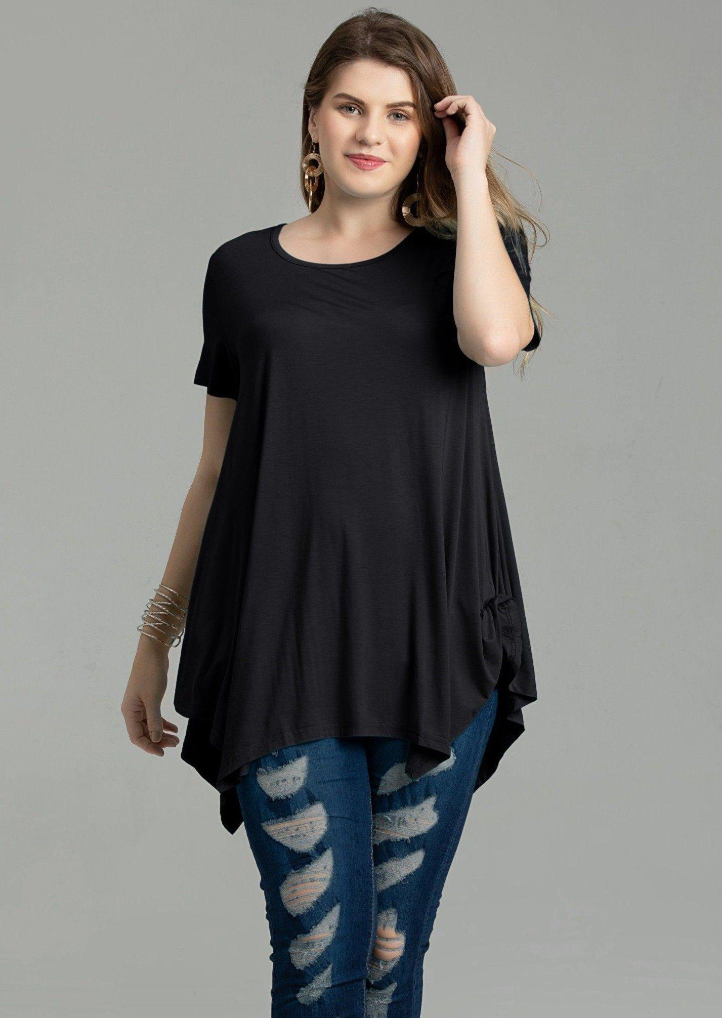 Larace Short Sleeve Flattering Comfy Blouse Shirt Tops Tops LARACE S black