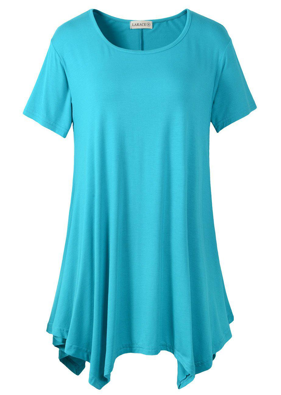 Larace Short Sleeve Flattering Comfy Blouse Shirt Tops Tops LARACE S lake blue
