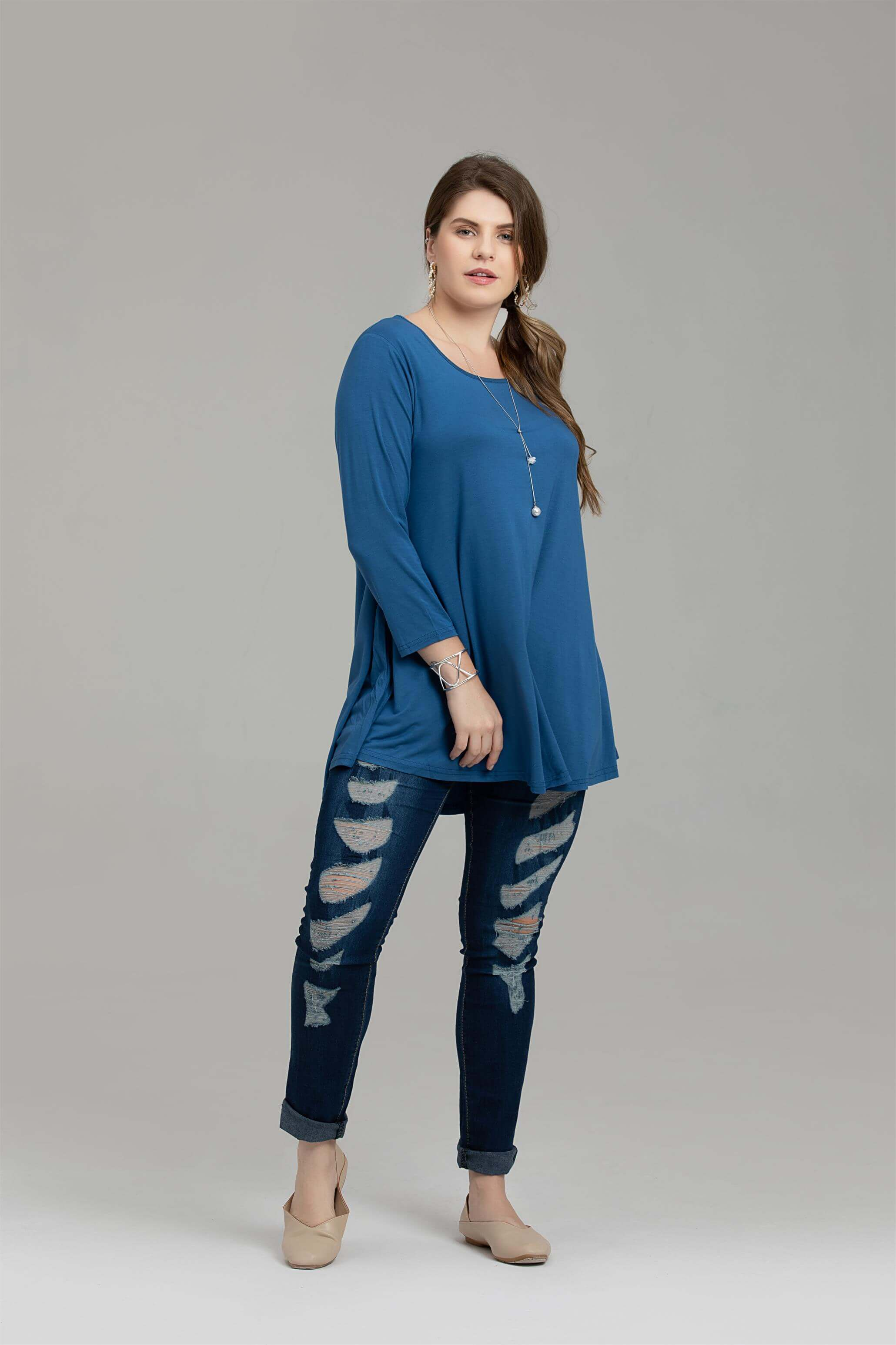 3/4 Sleeve Tunic Top Loose Fit Flare Tunic Shirt Tops LARACE