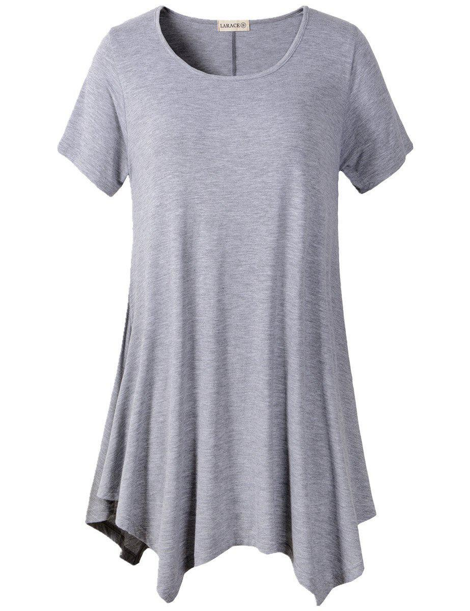 Larace Short Sleeve Flattering Comfy Blouse Shirt Tops Tops LARACE S light gray