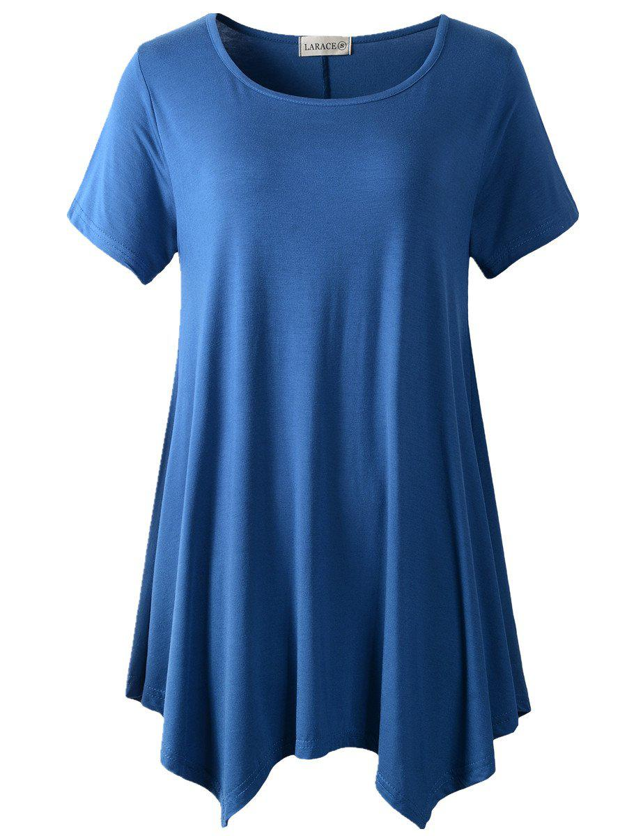 Larace Short Sleeve Flattering Comfy Blouse Shirt Tops Tops LARACE S steel blue