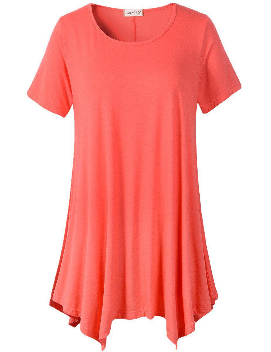 Larace Short Sleeve Flattering Comfy Blouse Shirt Tops Tops LARACE S watermelon