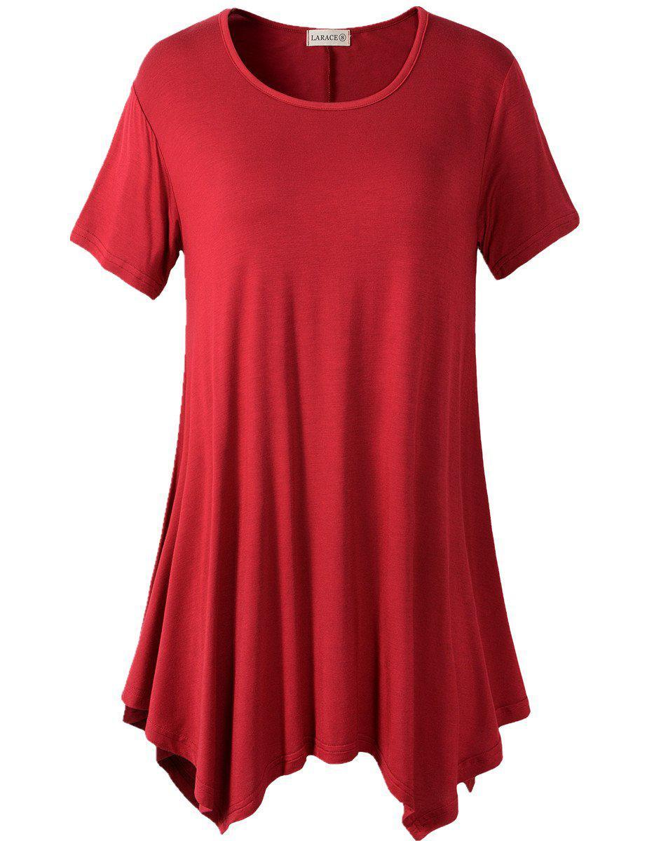 Larace Short Sleeve Flattering Comfy Blouse Shirt Tops Tops LARACE S wine red
