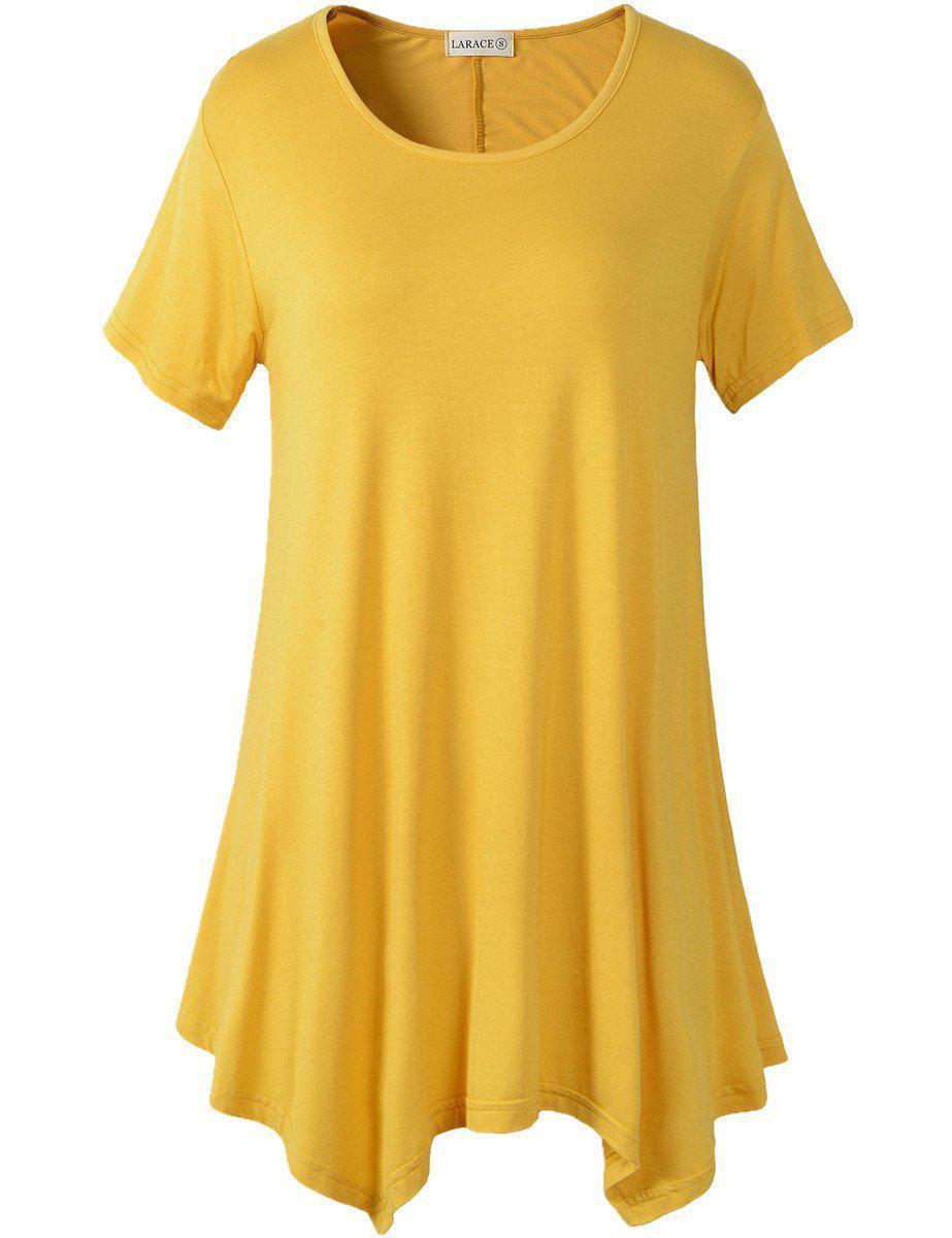 Larace Short Sleeve Flattering Comfy Blouse Shirt Tops Tops LARACE S yellow