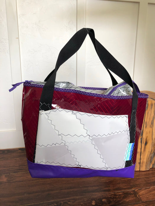 Sailcloth tote #106 purple zip