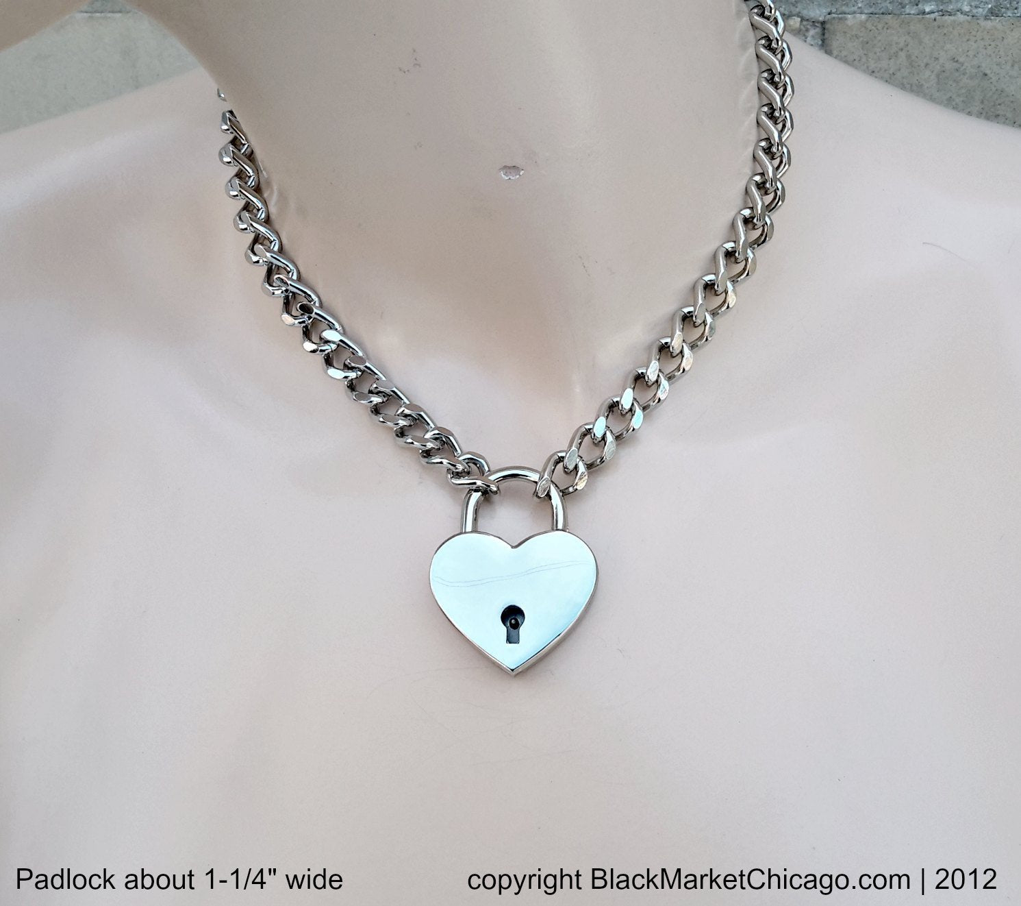 Locking Collar Submissive 316L Stainless Steel Chain and LARGE Nickel Heart Padlock BDSM Slave Necklace
