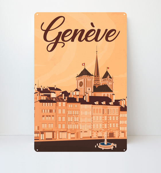 Geneva City - Metal Sign - 26x40