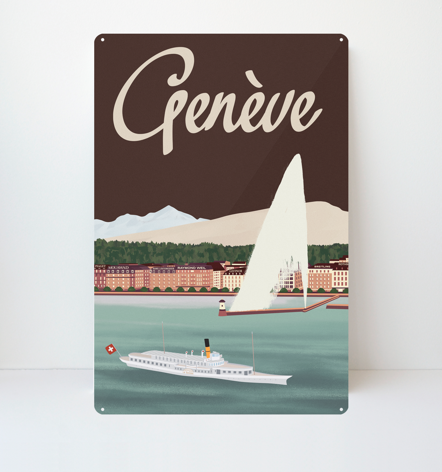 Genève Lake - Metal Sign - 26x40