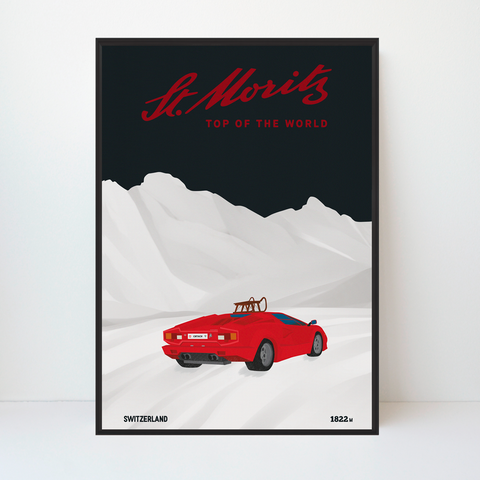 St Moritz | Lamborghini Countach | 25 pieces Limited Edition | Poster-Art
