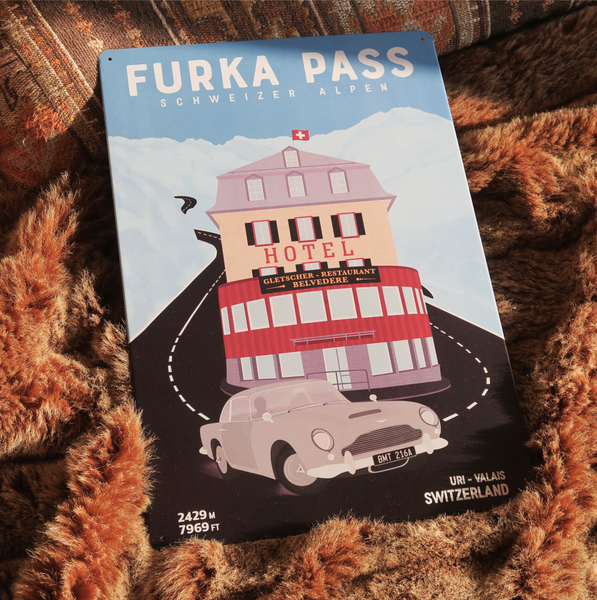 Furka Pass - Decorative Metal Sign - 26x40