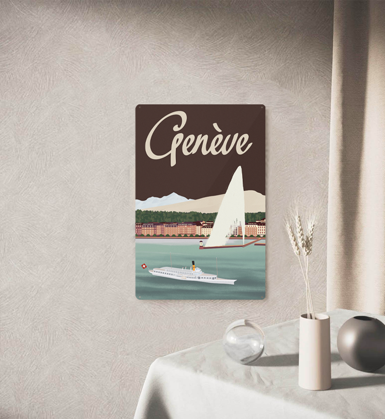 Genève Lake - Decorative Metal Sign - 26x40