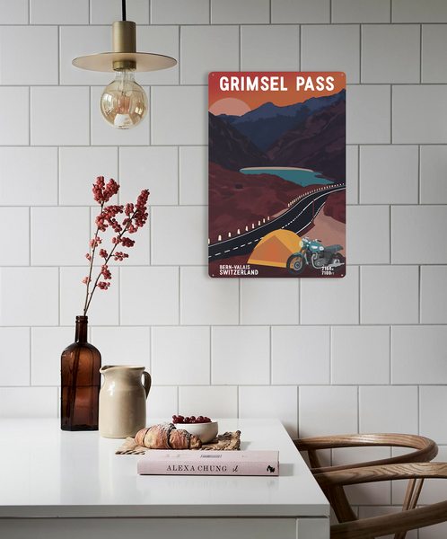Grimsel Pass - Metal Sign - 26x40