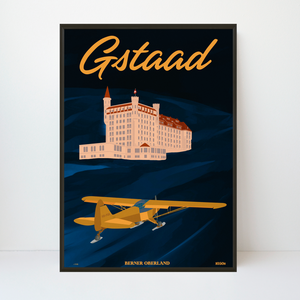 Gstaad Palace | Piper Cub | | 59x84 | 25 pieces Limited Edition | Poster-Art