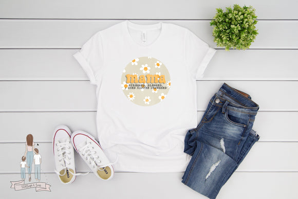 Retro Mama Stressed Blessed and Iced Coffee Obsessed Adult Tee